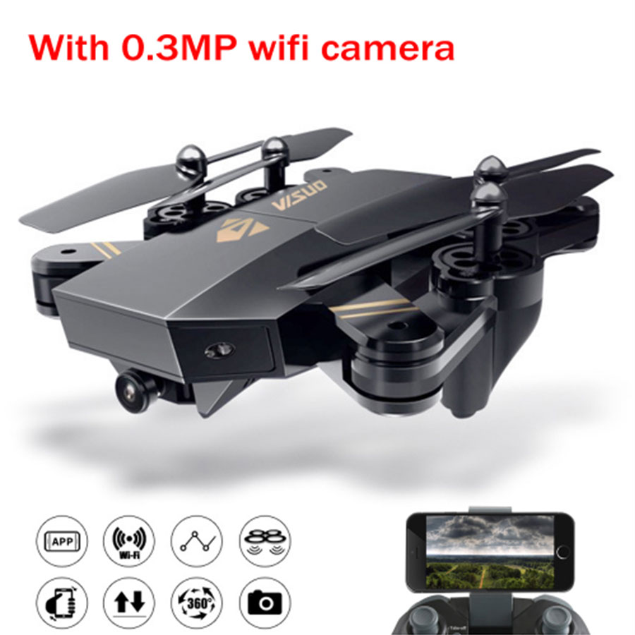RC Helicopter VISUO XS809HW Mini Drone with Wifi FPV Camera Foldable Altitude Hold Remote Conrol Quadcopter Toys linxtech in1601 480p 720p mini rc drone with camera wifi fpv foldable altitude hold quadcopter remote control helicopter toys
