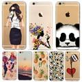 Animais dos desenhos animados bonitos da panda meninas case para iphone 6 6 s 7 plus 7 mais 6 mais 5 5S se silicone suave protector capa fundas casos saco