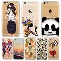 Animales de dibujos animados lindo panda niñas case para iphone 6 6 s 7 plus 7 más 6 más 5 5S sí silicona suave protector fundas cubierta de bolsa casos