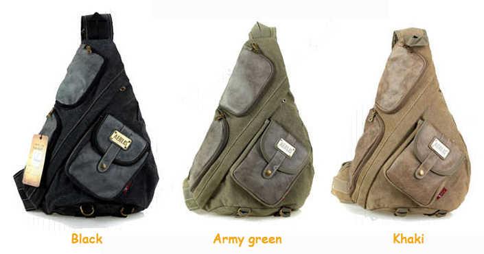 Большой холст с кожаными нагрудными сумками для мужчин винтажные повседневные мужские слинг рюкзак черный армейский зеленый хаки Бесплатная доставка PB36