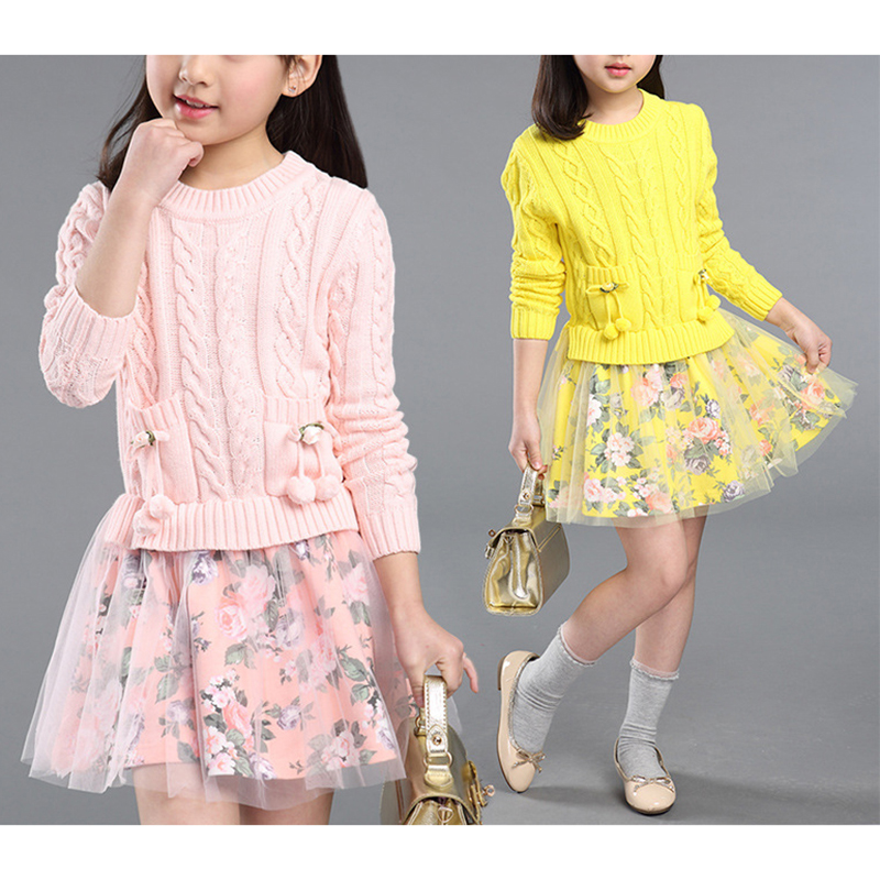 El bebe oso Automne Hiver Nouvelle Arrivée Grand Filles Chandail À Manches Longues Chandail + Floral Jupe Costumes Enfants Coton Vêtements ensemble