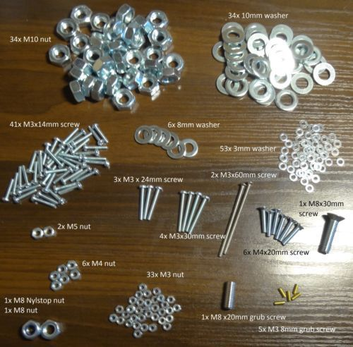 Funssor 1 set RepRap Prusa i3 rework full fasteners screw nuts/washers it set for DIY prusa 3D printer reprap prusa i3 rework full fasteners screw nuts kit set for diy prusa 3d printer