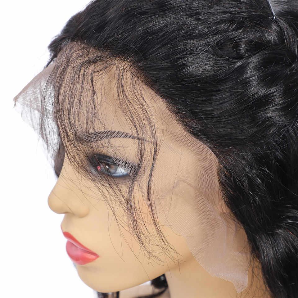 Полный 13X4 синтетические волосы на кружеве человеческие волосы Искусственные парики свободные глубокая волна перуанские прямые волосы