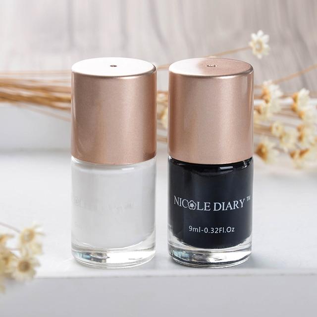 NICOLE DIARY 2 Bottle 9ml Nail Art Stamping Polish Black and White ...