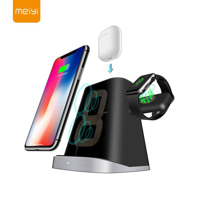 MEIYI Fast Charge แบบไร้สายสำหรับ Iphone XS XR XS 3 In 1 Wireless Charger Dock Station สำหรับ Apple นาฬิกา Airpods Stand