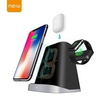 Meiyi carga rápida carregador sem fio suporte para iphone xs xr xs 3 em 1 estação doca carregador sem fio para apple relógio airpods suporte