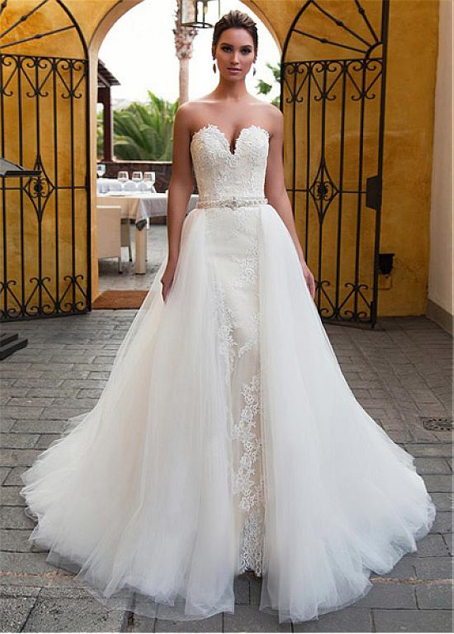 Fascinating Sweetheart Neckline 2 In 1 Beading Sash Wedding Dress With Lace Appliques Mermaid Bridal Dress Detachable Skirt