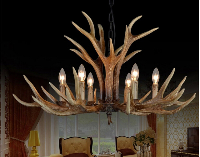 Superb 6/8/10 Heads Europe Deer Horn Antler Pendant Lamp Mediterranean Resin Antler  Lampshade
