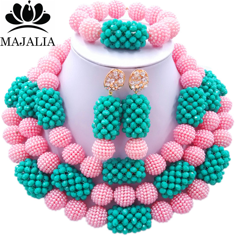 все цены на Majalia Fashion Charming Nigerian Wedding African Jewelry Set Pink and Teal green Crystal Necklace Bride Jewelry Sets 3SZ058 онлайн