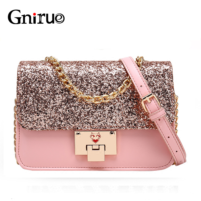 Pu Leather Sequins Bag Shiny Glitter Fashion Chain Women Shoulder Crossbody Bags Flap Pink Bling Handbag Purses Black love is жуймиксик мармелад жевательный со вкусом вишня лимон 24 шт по 25 г