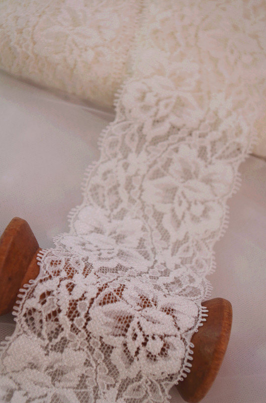 20 yards off white stretch lace trim, elastic lace ...
