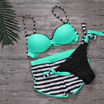 2018 New Push Up Women Swimwear Sexy Swimsuit Tankini with Shorts Trunks Sport Bathing Suits Women Three Pieces Bikini Plus Size цена 2017