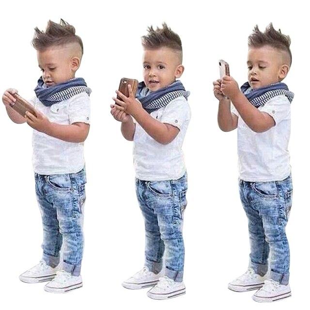 cd838f197 Niños niños ropa conjunto verano bebé niños ropa conjunto camiseta + Jeans  + bufanda 3 unids
