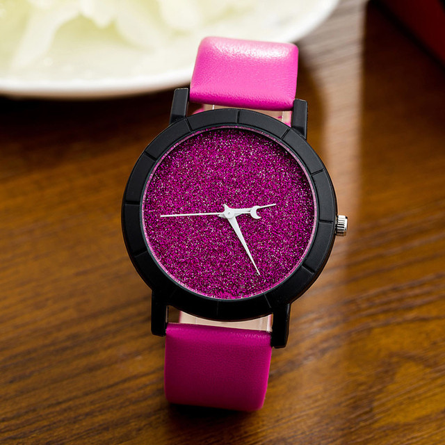 reloj mujer 2017 Fashion Women Watches Star Minimalist Printed Round Dial Leathe