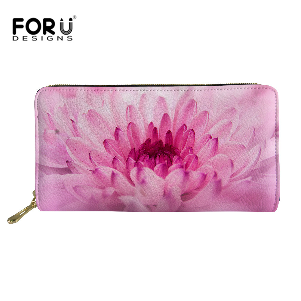 Forudesigns Floral Long Wallet Pink Flower Women Wallets Evening