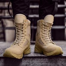 Męskie taktyczne buty wojskowe mężczyźni siły specjalne kostki buty wojskowe Plus rozmiar 37-46 obuwie robocze buty wojskowe trampki męskie tanie tanio Dla dorosłych Mikrofibra ANKLE Podstawowe Okrągły nosek RUBBER Cotton Fabric Skóra Split Lace-up Pasek stawu skokowego