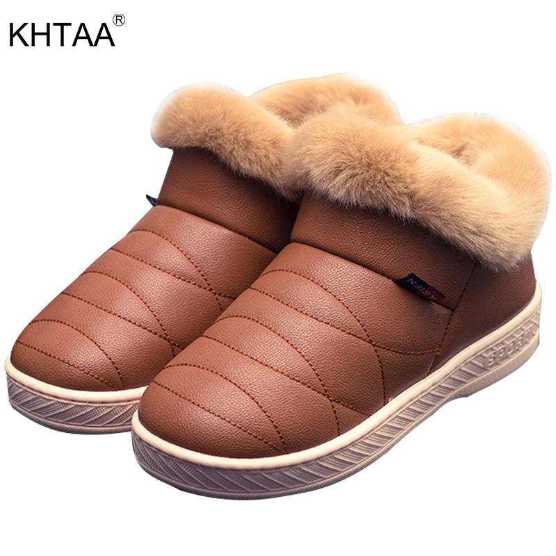 KHTAA 2017 Women Winter Ankle Snow Boots Female Couple Thick Sole Cotton Waterproof Warm Plush Fur Platform Shoes Multi Colors kemekiss women warm plush warm snow boots for women thick platform ankle botas female thick fur winter footwear size 36 40