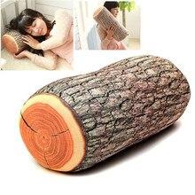 1 Unid Divertido Madera Natural Log Throw Pillow Volver Suave Cojín Del Cuello Del Coche Decoración Muñón En Forma de Almohadas Decorativas 37×17 cm
