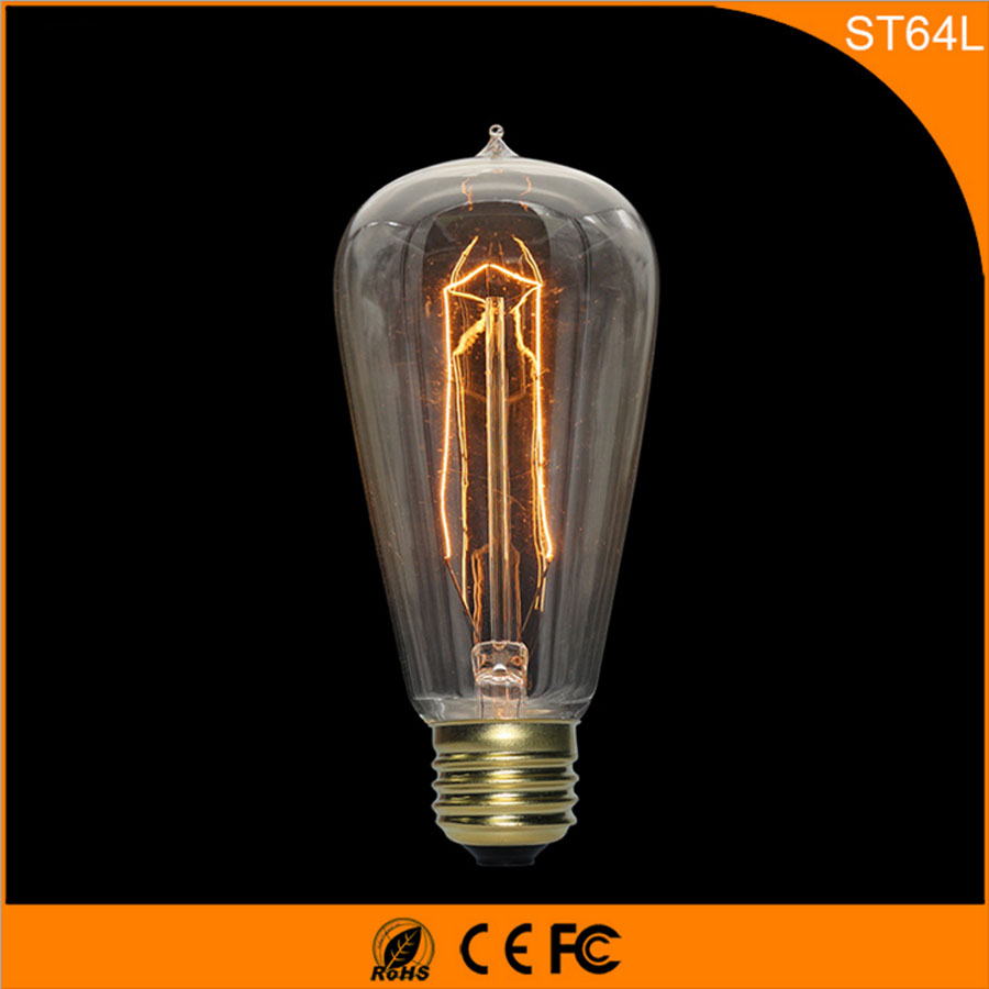 50Pcs Vintage Design Edison Filament E27 B22 LED Bulb ,ST64 40W Energy Saving Decoration Lamp Replace  Incandescent Light AC220V 1pcs e27 t80 led energy saving lamp light bulb velas led decorativas home lighting decoration 40w ac85 265v led lamp