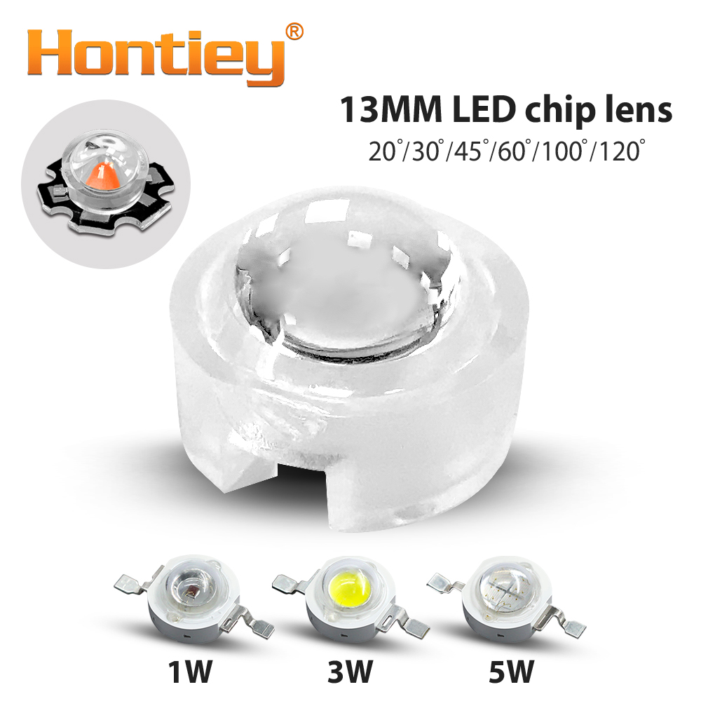 Hontiey 13mm Mini <font><b>LED</b></font> <font><b>Lens</b></font> 20 30 45 60 100 120 Degree Angle for 1W <font><b>3W</b></font> 5W <font><b>LED</b></font> Chips Beads IR PCB Convex Acrylic Reflector image