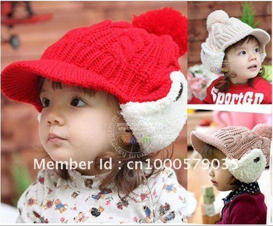 Baby Winter Hat with Earflaps Kids Knitted Peak Cap with Velvet Solid Color Kids Christmas Cap Infant Crochet Hat 10pcs/lot
