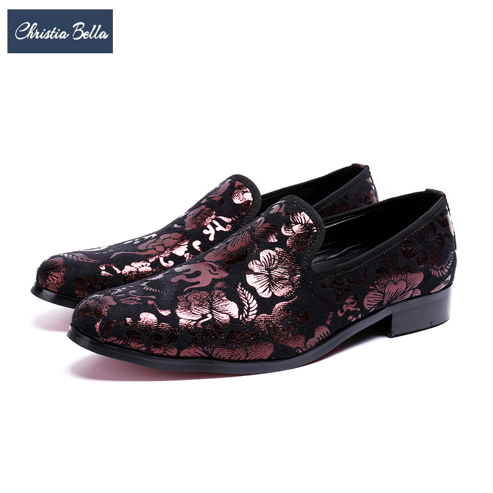 Christia Bella New Vintage Floral Men Dress Shoes Wedding Party Men Loafers Fashion Smoking Slippers Italian Slip on Flats Shoes zobairou vintage genuine leather men shoes italian men dress shoes multicolor printed party wedding handmade loafers men flats