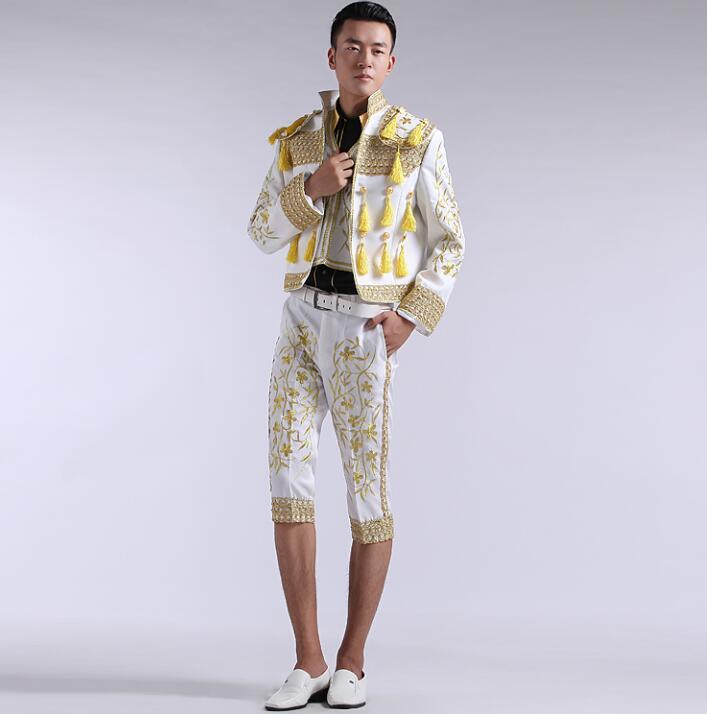 Court blazer men formal dress latest coat pant designs suit men spanish bullfighting suits for men's singer dance red white