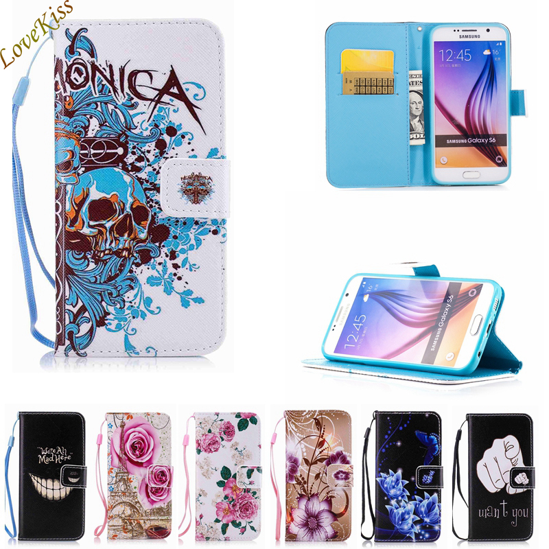 Leather Painting Wallet Cover Flip Stand Case For Samsung Galaxy S3 S5 S6 S7 Edge Core 2 Grand Prime For iPhone 5 SE 6 6S 7 Plus