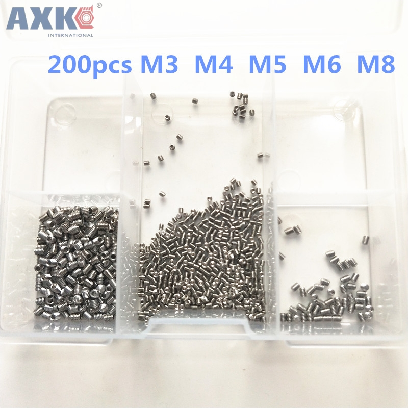 AXK 200Pcs Allen Head Socket Hex Set Grub Screw Assortment Cup Point Stainless Steel M3/M4/M5/M6/M8 With Plastic Box din912 304 stainless steel screw hex socket screws cup head cylindrical head three combination m2 5 m3 m4 m5 m6 m8 screw washer