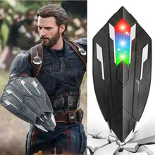 цена Voice flash Shield For Captain America Costume with LED light Children Captain America Shield Cosplay Carnival Purim party props онлайн в 2017 году