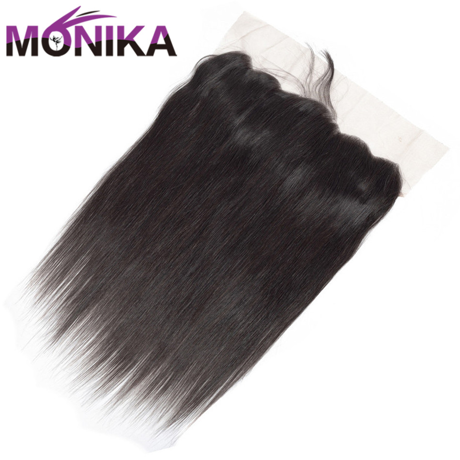Monika Hair Brazilian Straight Hair Lace Frontal Free/Middle Part Frontal Closure Human Hair Ear To Ear pre plucked Lace Frontal