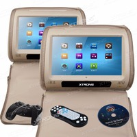 Cream Car Monitors Headrest DVD Player 9 HD 800*480 Touch Screen USB Car DVD Player Games IR FM transmitter+2 Headphones