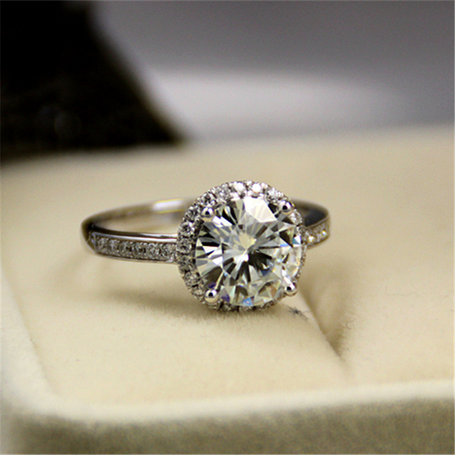 LASAMERO Round 3ct Esdomera Moissanites Vintage Filigree Style Halo Accents 14k White Gold Wedding Engagament Ring