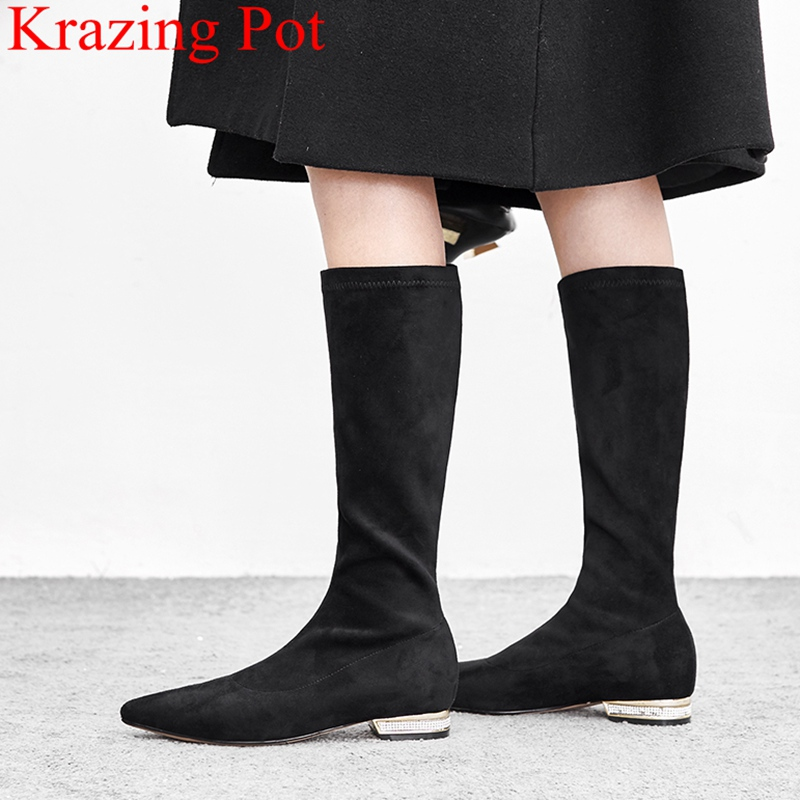 2018 new arrival brand slip on large size flock low heels strech women mid-calf boots crystal party pointed toe winter shoes L19 2018 new superstar flock runway peep toe slip on fashion brand shoes wedges autumn spring lazy zipper mid calf boots for women