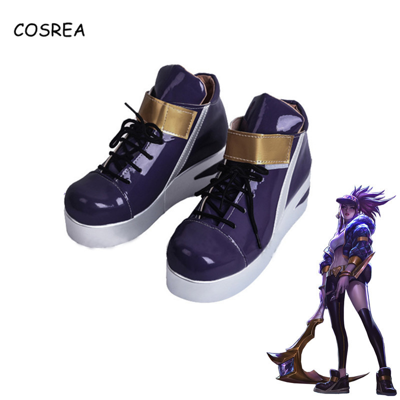 COSREA KDA Akali Cosplay Costume Flats Sneakers Shoes LOL AKALI Cosplay Women Girls Shoes Casual Game LOL K/DA Akali Cos