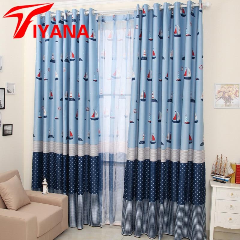 Mediterranean Sailboat Design Curtains For Kids Children Room Living Room  Bedroom Cartoon Boys Window Drapes Blue