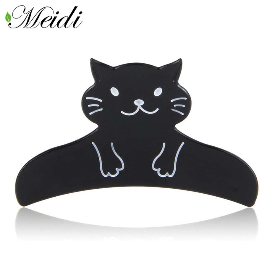 MEIDI New Acetate Hair Jewelry Cute Cat Shape Hair Claw Large Size Gripper Headwear for Girls Hair Accessaries Gift Crab SP1110