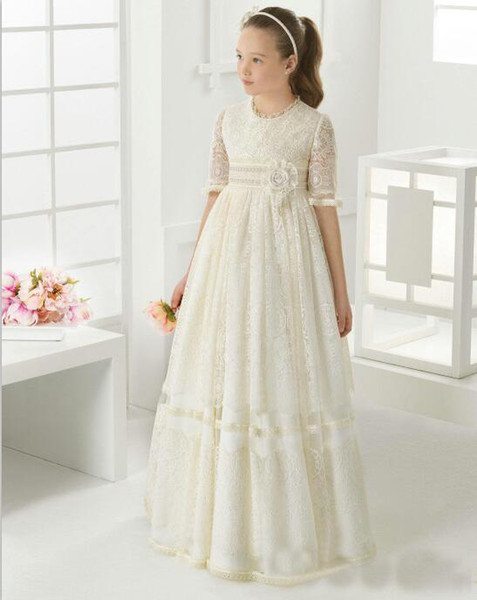 2018 Lace   Flower     Girl     Dresses   For Wedding Holy First Communion   Dresses   Half Sleeves Empire Pageant Gowns communion fille daminha