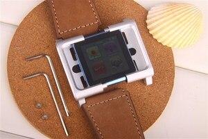 Image 4 - (Brązowy) kolekcja Chicago skórzany aluminiowy pasek na rękę zespół skrzynki pokrywa dla ipod nano 6 6th 6G + bezpłatna ochrona ekranu
