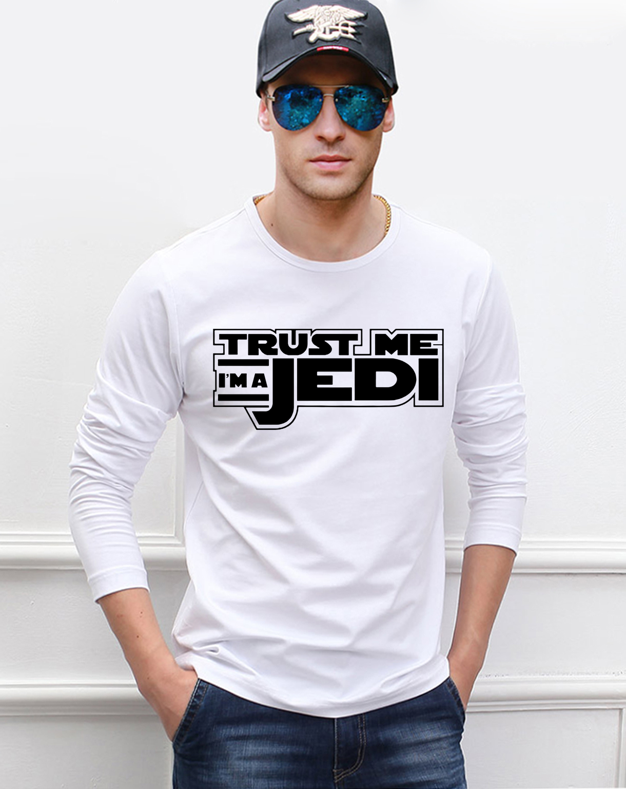 Funny STAR WARS Trust Me I'm a Jedi knight men long sleeve t-shirt 2019 new spring 100% cotton high quality hip hop top tees