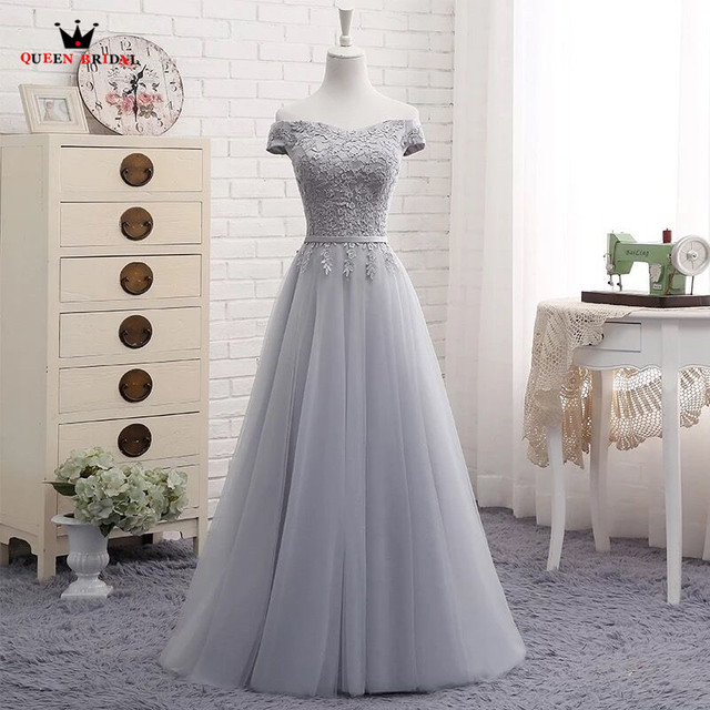 A-line Lace Elegant Evening Dresses Gray Evening Gown Vestido De Festa Robe De Soiree Longue 2018 Party Dress QUEEN BRIDALD DR03