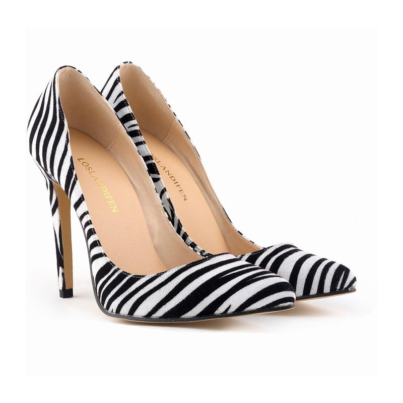 LOSLANDIFEN Classic Sexy Pointed Toe High Heels Women Pumps Shoes Zebra Spring  Brand Wedding Pumps Big Size 35 42 302 1Zebra-in Women s Pumps from Shoes  on ... 6b8a44734a97