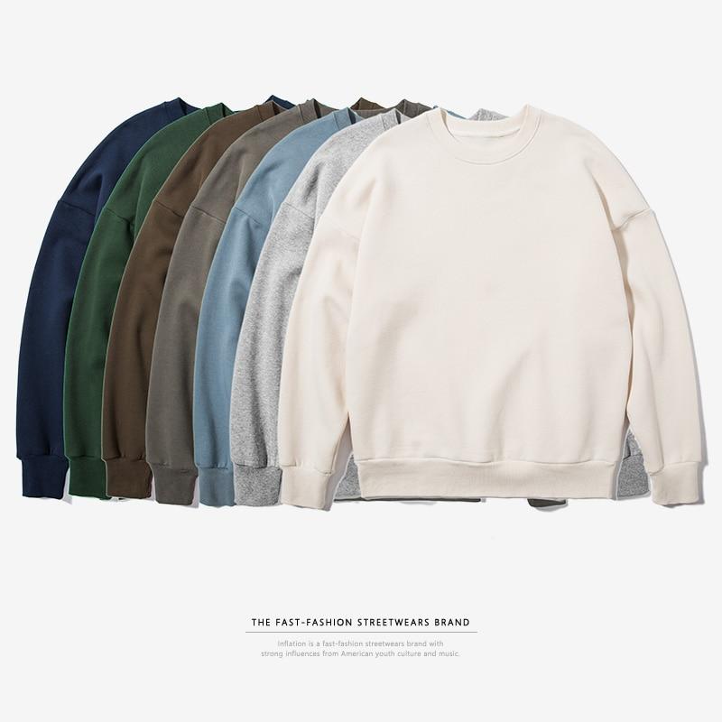 INFLATION 2017 Autumn & Winter Mens Hip Hop Pure Hoodies Velvet Fabrics Sweatshirts Men Street wear Winter Sweatshirts 166W17