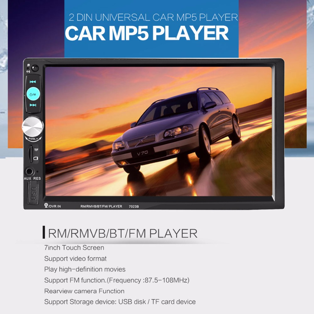 Car Video Players 7inch Touch Screen 2din Car Radio Stereo Bluetooth / AUX / SD / FM / USB MP5 Player yatour car adapter aux mp3 sd usb music cd changer 6 6pin connector for toyota corolla fj crusier fortuner hiace radios