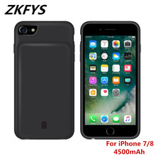 ZKFYS 4500mAh Large Capacity Portable Power Bank Case  For iPhone 7 8 Ultra Thin Fast Charger Battery Cover