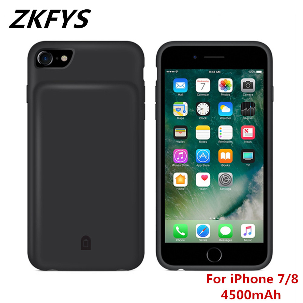 ZKFYS 4500mAh Portable Power <font><b>Bank</b></font> <font><b>Case</b></font> For <font><b>iPhone</b></font> <font><b>7</b></font> 8 <font><b>Battery</b></font> <font><b>Case</b></font> Fast Charger Soft TPU Silicone Powerbank Charging Cover <font><b>Case</b></font> image