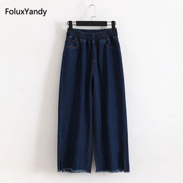 88fece6ff68 Tassel Denim Wide Leg Pants Women Plus Size 3 4 XL Casual Elastic Waist  Loose Jeans Trousers Blue KKFY1161