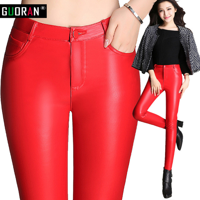 92a4da3193 De cintura alta pantalones de cuero de la PU de Las polainas rojo plus  tamaño 2016