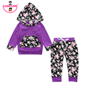 2017 Children Baby Girls Clothing Set Cotton Hooded Tops Hoodies Flowers Casual Clothing Trousers Baby Girls Outfit 2 PCS. Set
