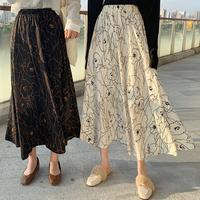 Yocalor Women Floral Long Skirts Maxi High Waisted Chiffon Skirt 2019 Vintage Streetwear Womens Skirts Female Korean Skirt